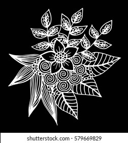 Abstract flower, fantasy blossom, coloring pictures, monochrome sketch, doodle plants