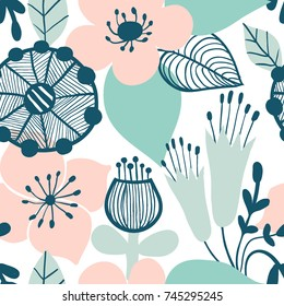 Abstract flower graphic design. Trendy creative seamless pattern with hand drawn flowers and leaves. For printing for modern and original textile, wrapping paper, wall art design