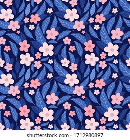 Abstract flower hand drawn vector seamless pattern. Blooming sakura, cherry and leaves. Garden blossoms texture. Botanical background. Floral textile, fabric, wrapping paper design, fashion prints