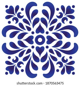 Abstract flower icon, watercolor blue and white floral ornament for design, ceramic, pattern, porcelain,indigo, chinaware, tile, ceiling, texture, wall, floor, paper and fabric, vector illustration
