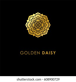 Abstract flower logo icon design. Elegant Golden Daisy  symbol. Template for creating unique luxury design, logo. Universal premium vector sign. Print gold foil - stock vector