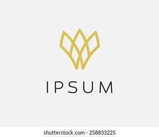 Abstract flower logo icon vector design. Crown symbol
