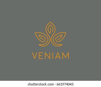 Abstract flower lotus logotype. Elegant crown line logo. Universal premium spa vector sign.