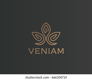 Abstract flower lotus logotype. Luxury crown linear logo. Gold premium spa hotel vector sign.