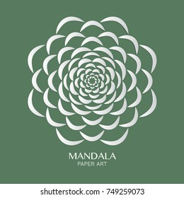 Abstract flower mandala logo design with paper cutting style, vector illustrate