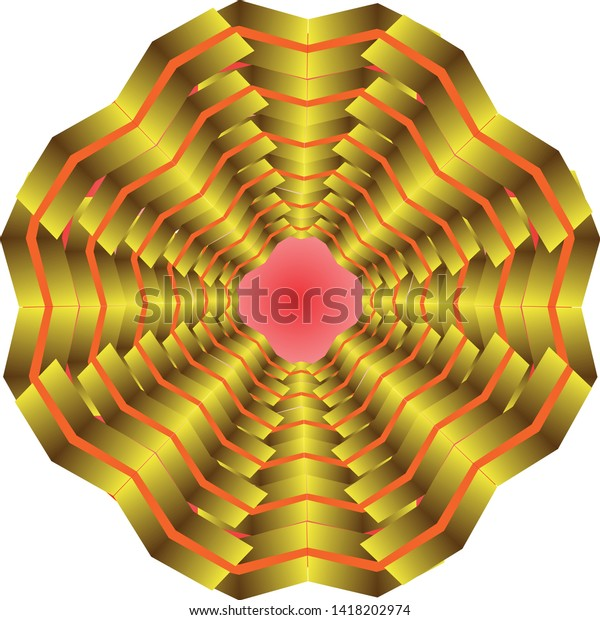 Abstract flower with many petals, joined in polygon with red center and wavy edge.