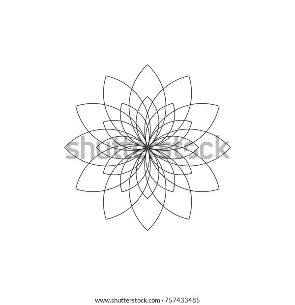 Abstract Flower Outline Logo Icon Design Stock Vector