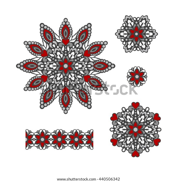 Abstract Flower Patterns. Decorative ethnic elements for design. Vector illustration.