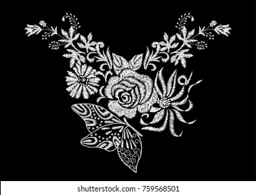 abstract flower with rose and butterfly embroidery artwork design for neckline clothing, isolated vector on black background