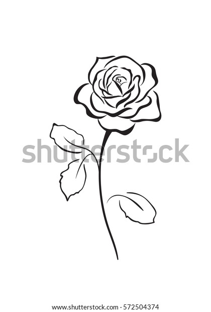 Abstract Flower Rose Vector Outline Icon Stock Vector
