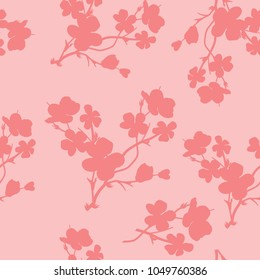 Abstract flower seamless pattern. Cute floral pink background.