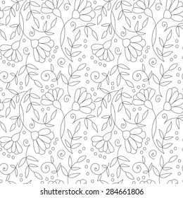 Abstract flower seamless pattern with leaves and dots. Doodle cute black and white background. Sweet summer monochrome simple print.