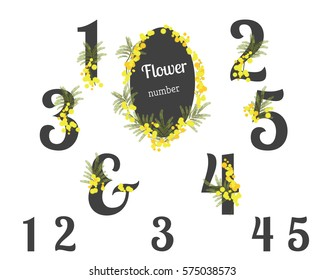 Abstract flower spring illustration. Mimosa flowers. Numbers floral clipart for your holiday
