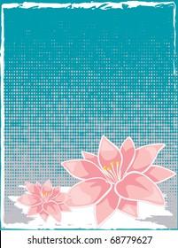 abstract flower spring illustration vector frame card