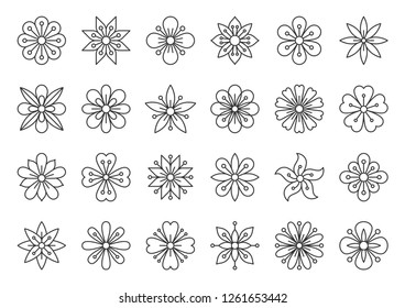 Abstract Flower thin line icons set. Outline sign kit of spring floral. Minimal Style linear icons of ethnic beauty pattern, tribal chamomile. Simple plant contour symbol on white. Vector Illustration