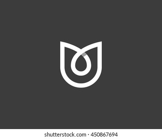 Abstract flower tulip logo icon vector design. Elegant linear premium symbol with shadow.