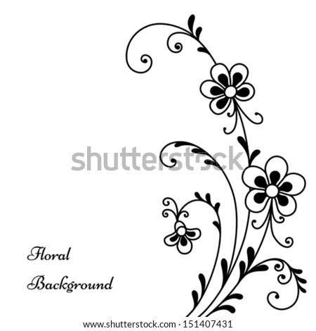 Abstract Flowers Black White Floral Background Stock Vector Royalty