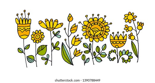 Abstract flowers hand drawn color illustration. Scandinavian style floral ornate doodle clipart. Wildflower cartoon sketch. Spring blossom naive contour drawing. Banner, poster isolated design element