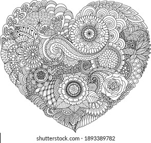 Abstract flowers and leaf in heart shape, design for coloring book, coloring page, wedding invitation, valentines card, engraving and so on. Vector illustration