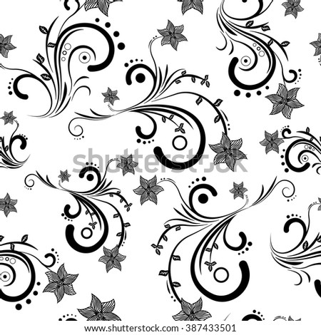 Abstract Flowers Pattern Black White Stock Vector Royalty Free