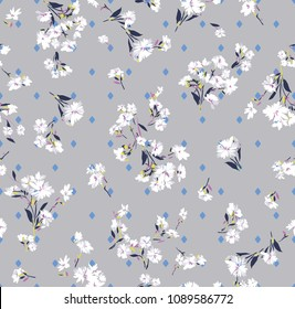 abstract flowers pattern on dark gray background