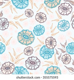 Abstract flowers seamless pattern. Colorful vector background.