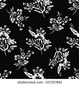 Abstract flowers seamless pattern, floral background, monochrome, coloring book. Fantasy white flowers on black backdrop. For the design of the fabric, wallpaper. Vector black and white illustration