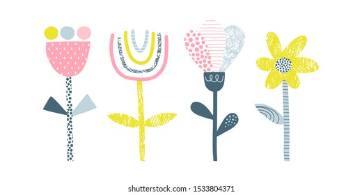 Abstract flowers vector illustrations set. Doodle blooming plants flat simple composition. Decorative Scandinavian scribble, line and dot drawing. Blossoming tulip, chamomile, dandelion, bud