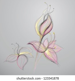 Abstract flowers / Vector sketch of blooms