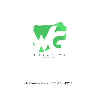 Abstract Flowing Liquid Shapes Letter WG Logo Design