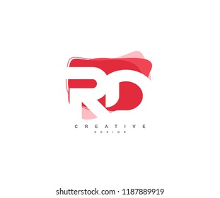 Abstract Flowing Liquid Shapes Letter RD Logo Design