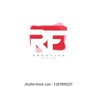 Abstract Flowing Liquid Shapes Letter RF Logo Design