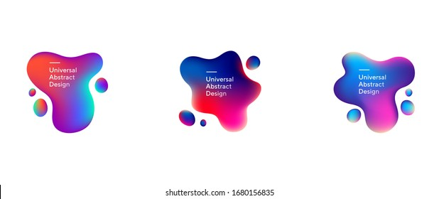 Abstract flowing liquid shapes set. Wavy forms, fluid elements, gradient lines and colors. Trendy futuristic design for banners, flyers, posters, logos