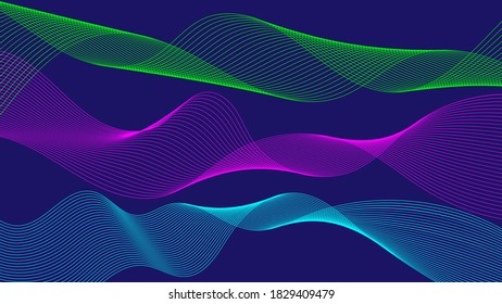 Abstract flowing ribbons of different colors. Wave of the many colored lines. Design elements. Abstract wavy stripes on dark, isolated background. Curved smooth tape. Vector illustration