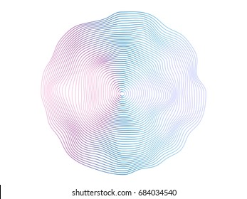 Abstract flowing wave surface of circle lines with colorful soft tone color palette on white background for design element, banner, background