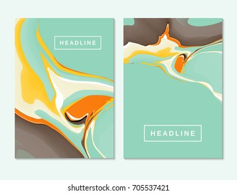 Abstract fluid colors backgrounds. Colorful liquid ink. Back and front flyer template.Painting cover layout for corporate business book, booklet, brochure, poster, banner, leaflet. Vector