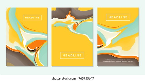 Abstract fluid colors backgrounds. Colorful liquid ink. Back and front flyer template.Painting cover layout for corporate business book, booklet, brochure, poster, banner, leaflet. Vector.