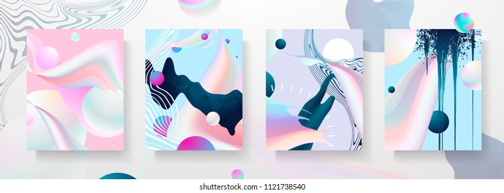 Abstract Fluid creative templates, cards, color covers set. Geometric design, liquids, shapes. Trendy vector collection. Pastel and neon design, geometric  fluid graphic shape, in vector background.