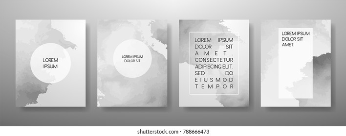 Abstract Fluid creative templates, cards, color covers set. Geometric design, liquids, shapes. Trendy vector collection.