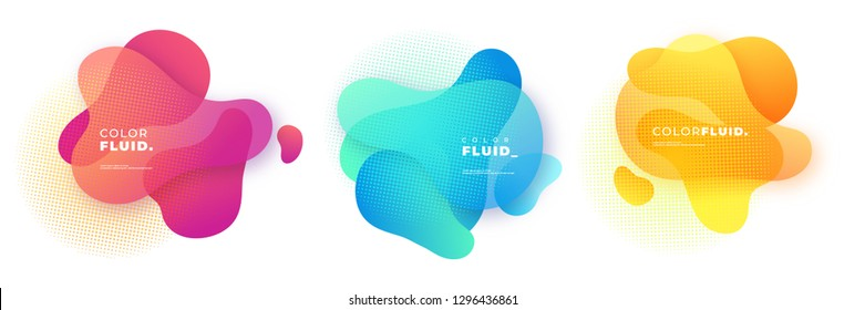 Abstract Fluid Gradient Badge Template, Geometric Background, Vector Illustration, Modern Background.