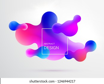 Abstract fluid vector background. Gradient liquid modern shapes.
