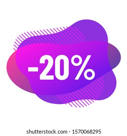 abstract fluid vector bubbles with discounts. discount 20 percent off sale offer purple color bubbles. abstract gradient banner with flowing liquid shapes illustration for promo advertising discounts