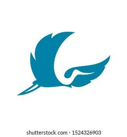 Abstract Fly Heron Logo Design Template