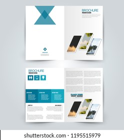 Abstract flyer design background. Brochure template. Can be used for magazine cover, business mockup, education, presentation, report. Blue color.