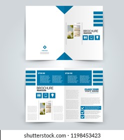 Abstract flyer design background. Brochure template. Can be used for magazine cover, business mockup, education, presentation, report. Blue color. Vector illustration.