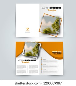 Abstract flyer design background. Brochure template. Can be used for magazine cover, business mockup, education, presentation, report. Orange color. Vector illustration.