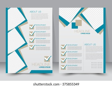 Abstract flyer design background. Brochure template. Can be used for magazine cover, business mockup, education, presentation, report. a4 size with editable elements. Blue color.