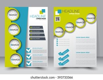 Abstract flyer design background. Brochure template. Can be used for magazine cover, business mockup, education, presentation, report. a4 size with editable elements. Green and blue color.
