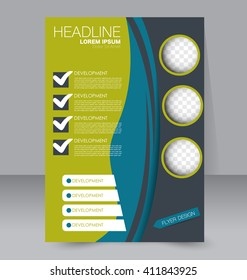 Abstract flyer design background. Brochure template. To be used for magazine cover, business mockup, education, presentation, report.  Blue and green color.