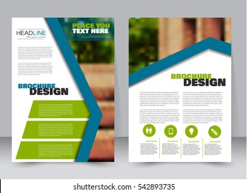 Abstract flyer design background. Brochure template. Annual report cover. Can be used for magazine, business mockup set, education, presentation. Vector illustration a4 size.  Blue and green color.